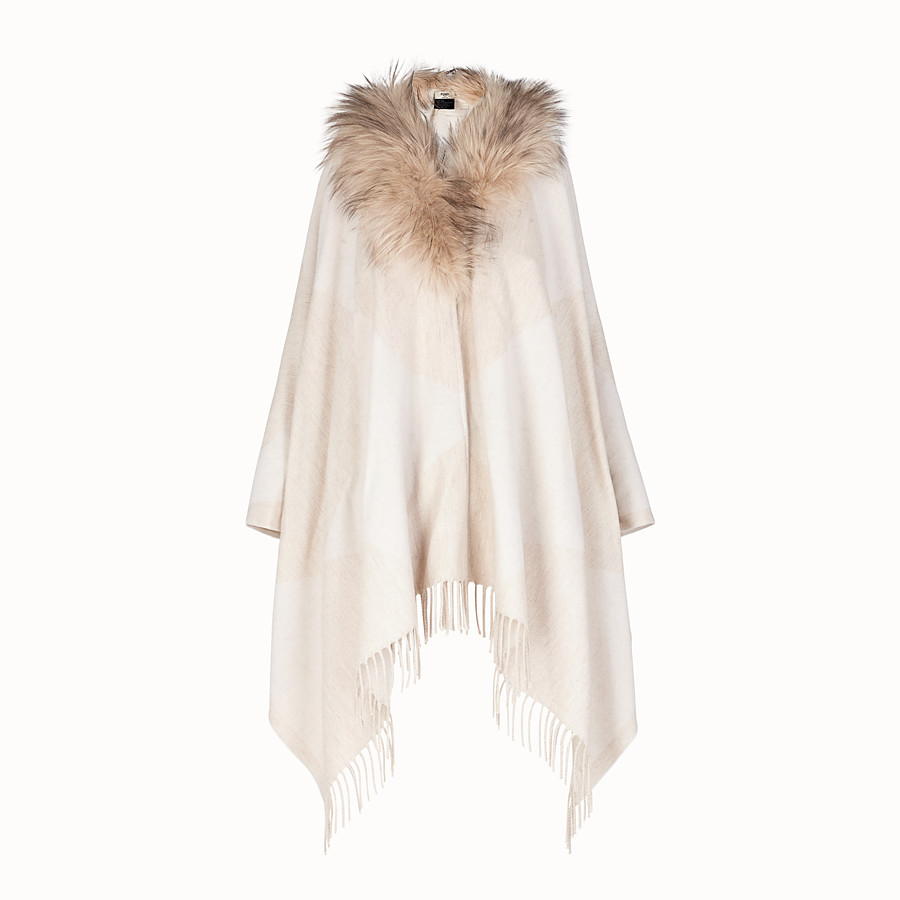 FENDI TOUCH OF FUR PONCHO - White wool poncho - view 1 detail