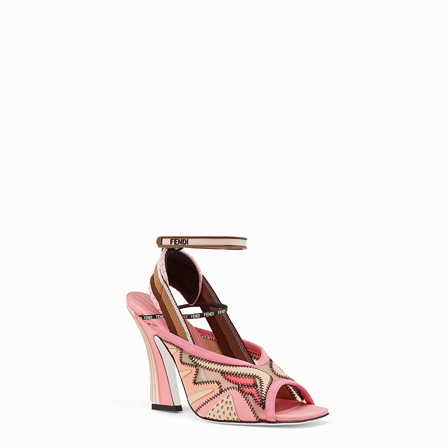 FENDI SANDALS - Pink technical mesh sandals - view 2 detail