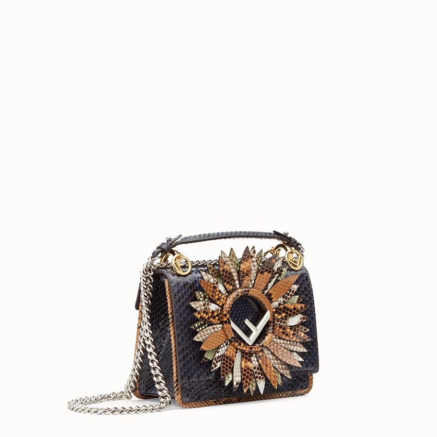 FENDI KAN I LOGO SMALL - Blue python mini-bag - view 2 detail