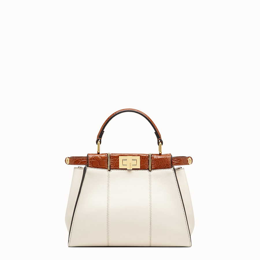 FENDI PEEKABOO ICONIC MINI - White leather bag with exotic details - view 1 detail