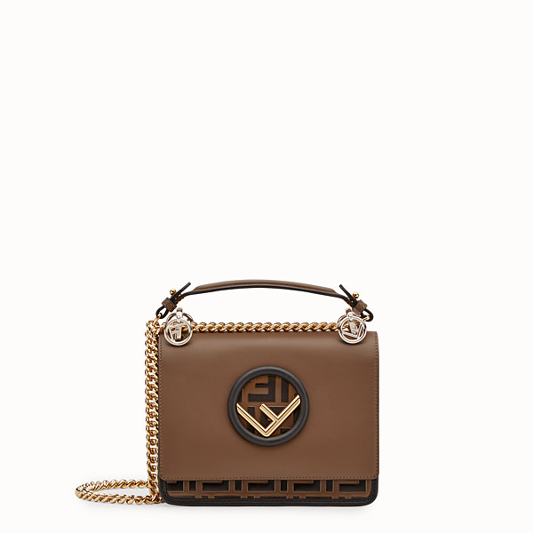 FENDI KAN I F SMALL - Black leather mini-bag - view 1 small thumbnail