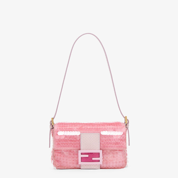 Pink satin bag with sequins
