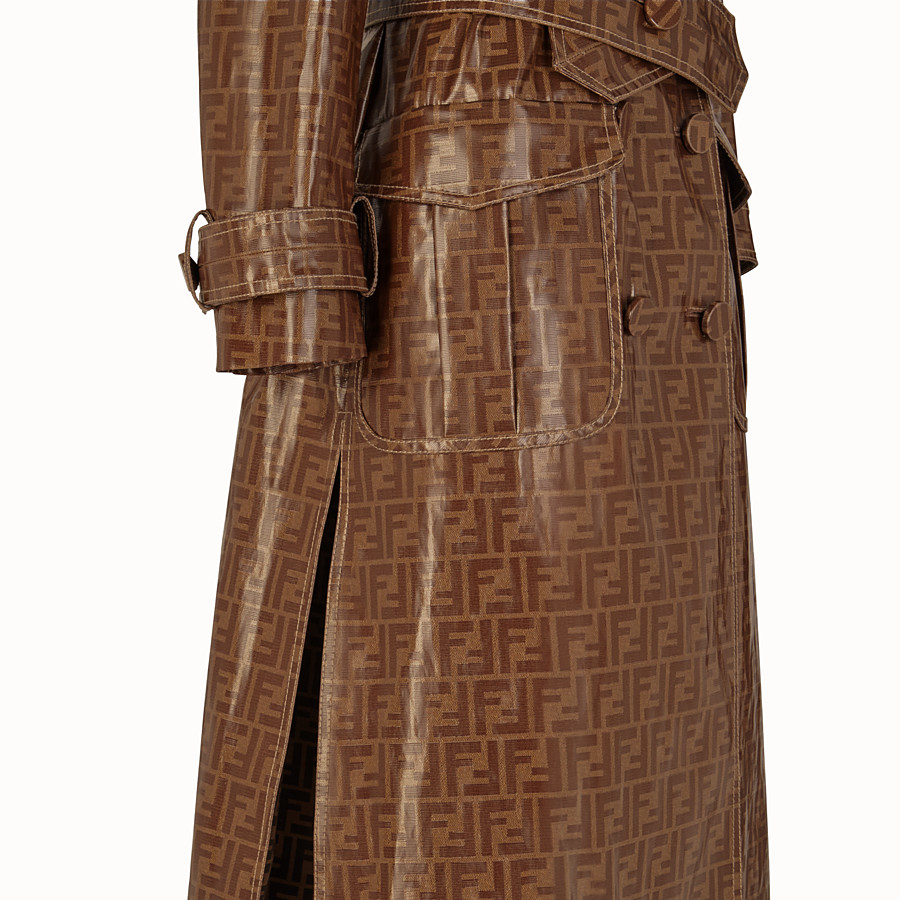FENDI OVERCOAT - Multicolour fabric trench coat - view 3 detail