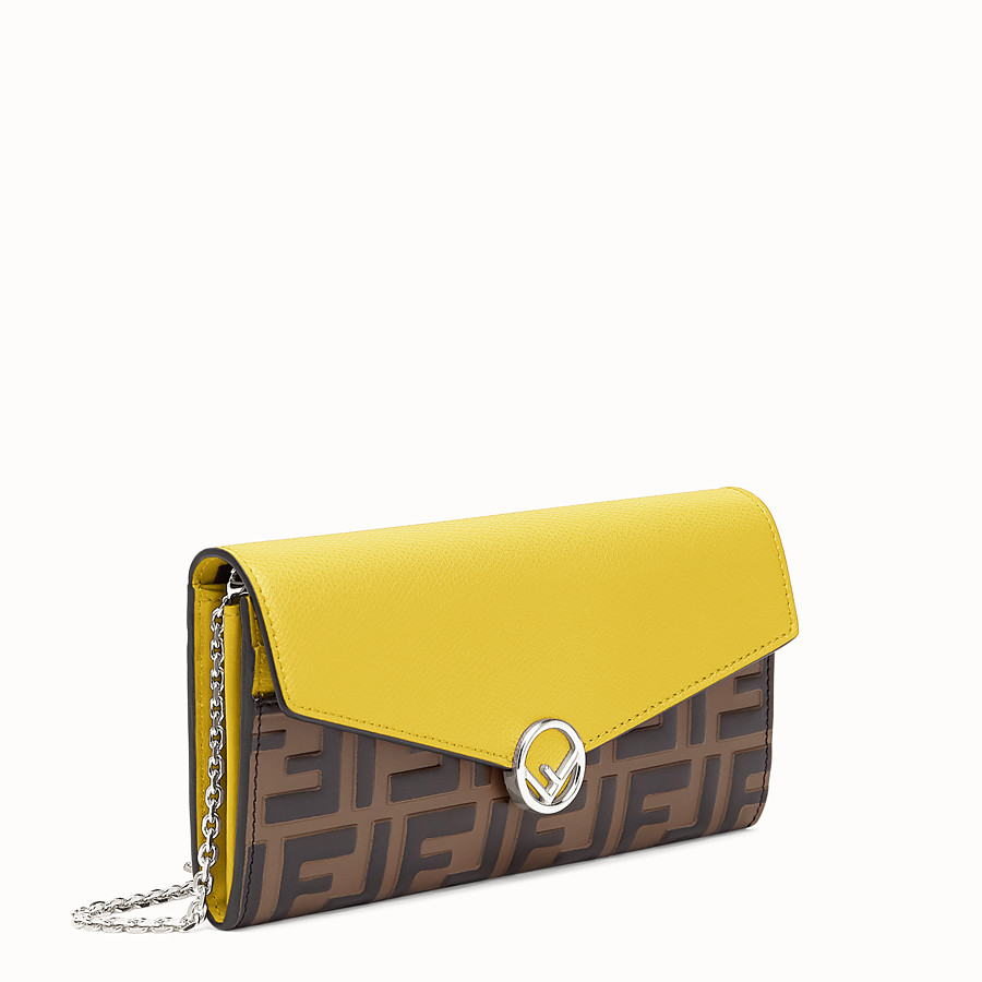 FENDI CONTINENTAL WITH CHAIN - Yellow leather wallet - view 2 detail