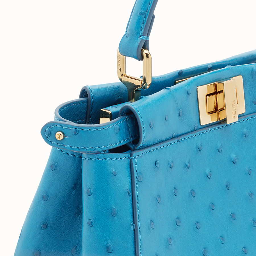 FENDI PEEKABOO MINI - Light blue ostrich leather bag - view 5 detail