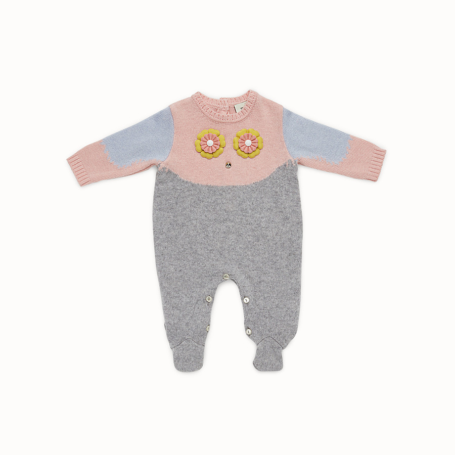 FENDI PLAYSUIT - Baby girl's grey and multicolour wool blend playsuit - view 1 detail