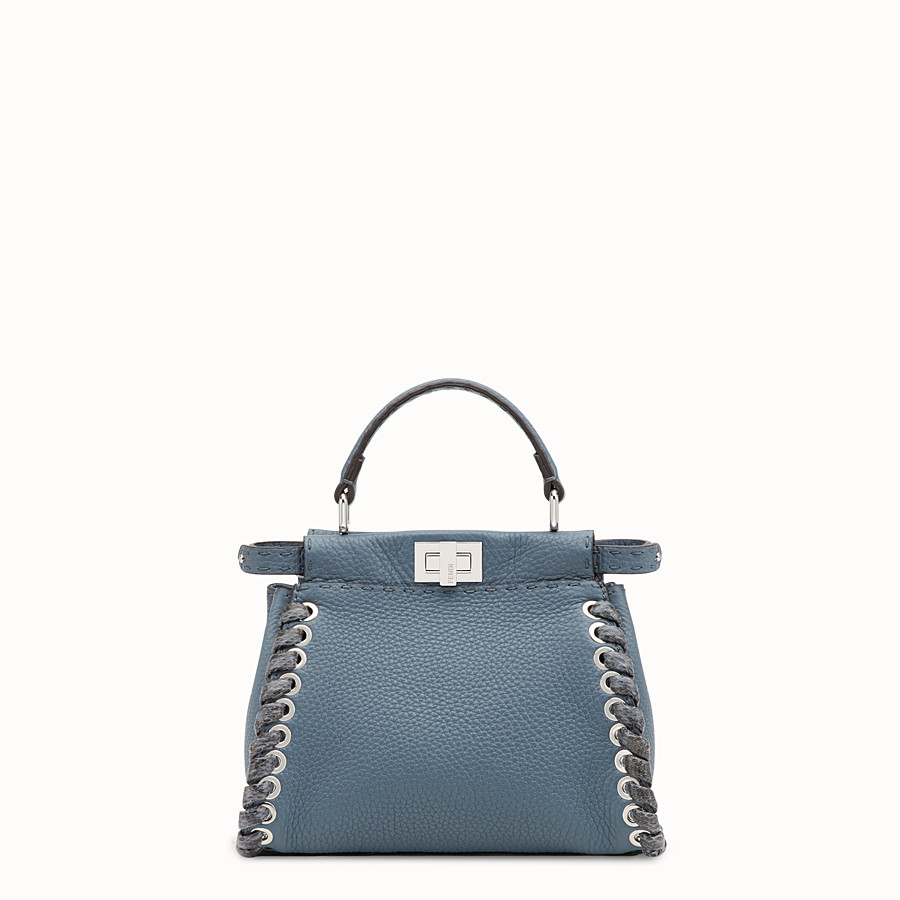 FENDI PEEKABOO MINI - Blue leather bag - view 1 detail