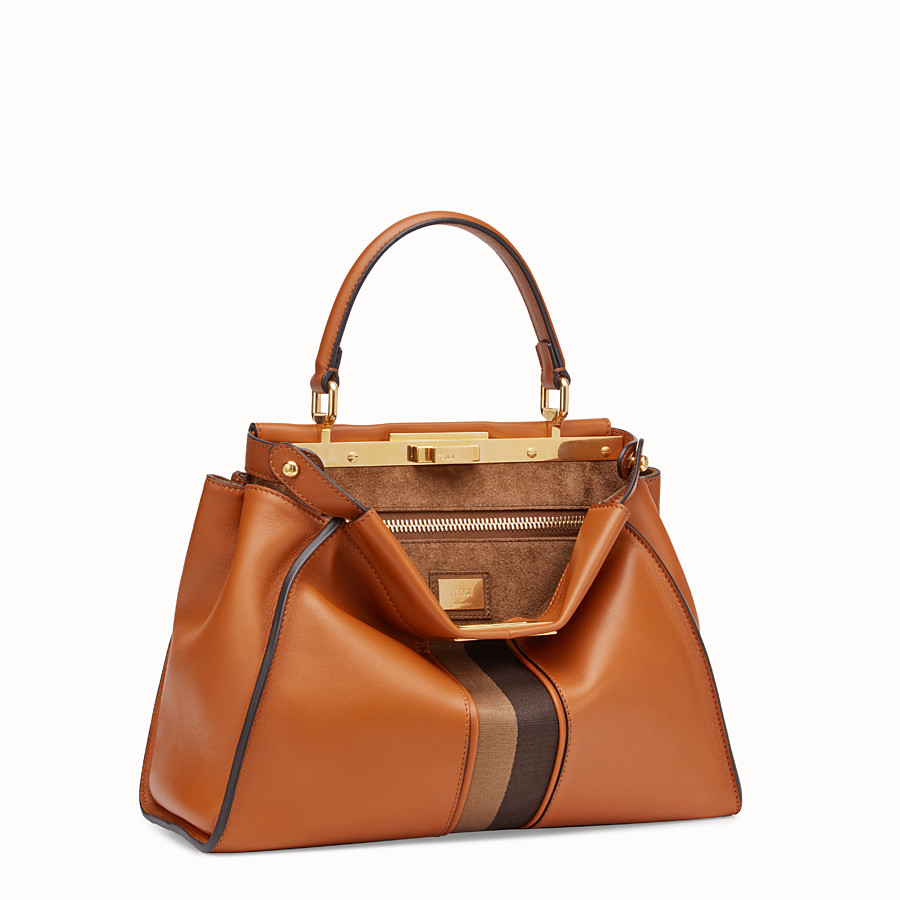 FENDI PEEKABOO ICONIC MEDIUM - Borsa in pelle marrone - vista 2 dettaglio