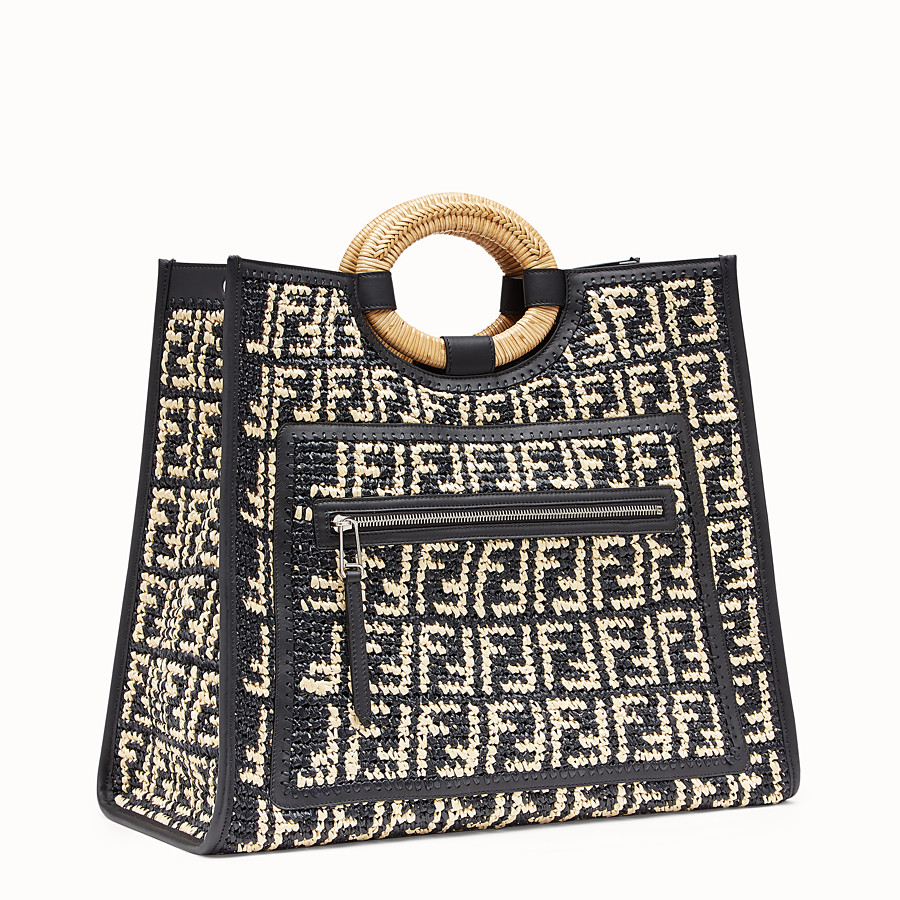 FENDI RUNAWAY SHOPPER - Multicolour raffia shopper - view 2 detail