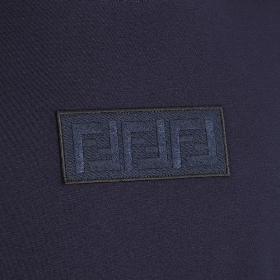 FENDI T-SHIRT - Dark blue cotton T-shirt - view 3 detail