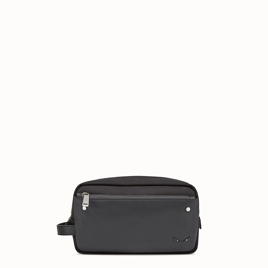 FENDI TOILETRY CASE - Black nylon and leather case - view 1 detail