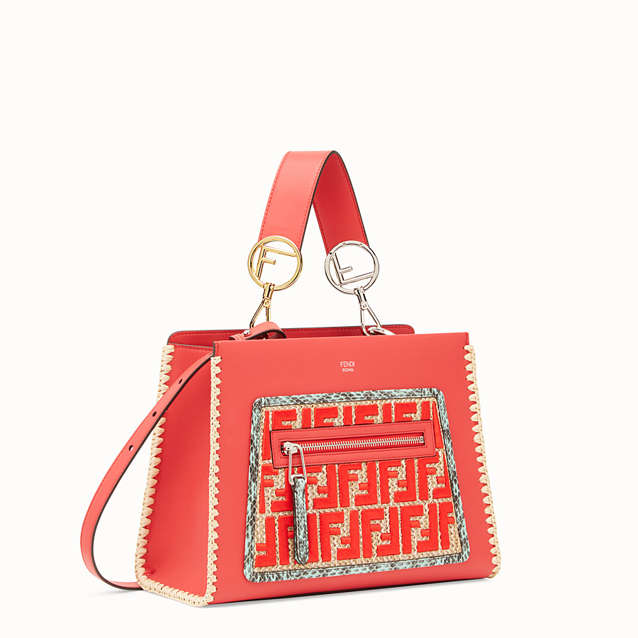FENDI RUNAWAY SMALL - Red leather bag with exotic details - view 2 detail