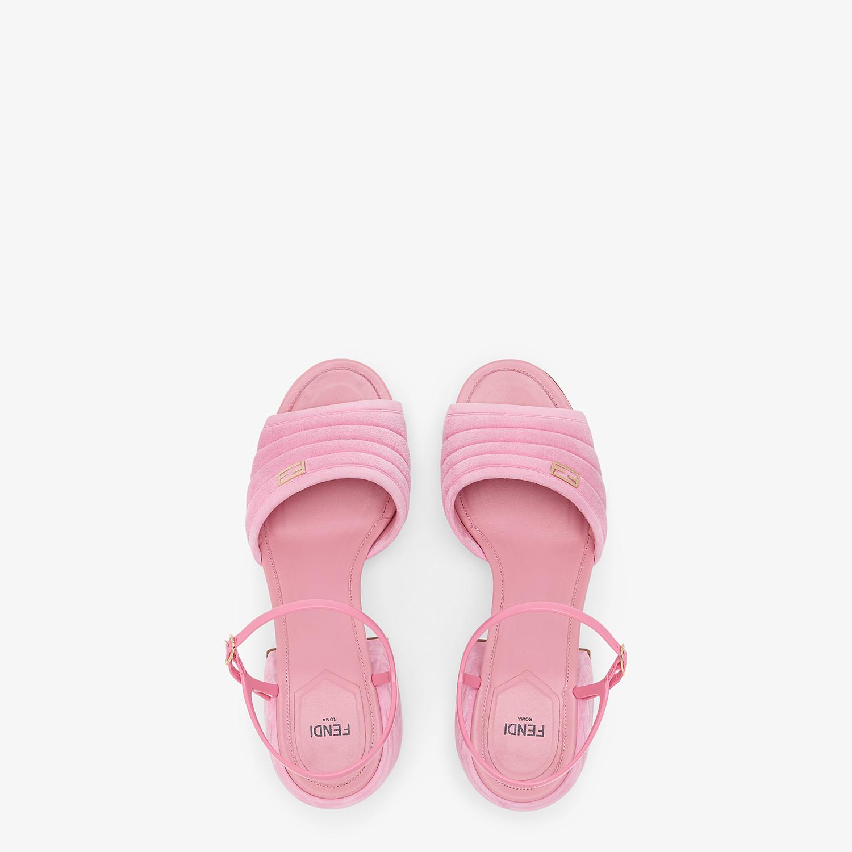 FENDI SANDALS - Pink suede Promenades - view 4 detail