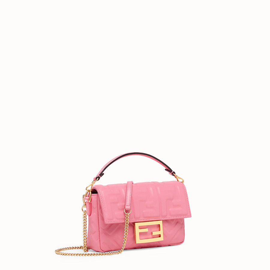 FENDI MINI BAGUETTE - Pink leather bag - view 2 detail