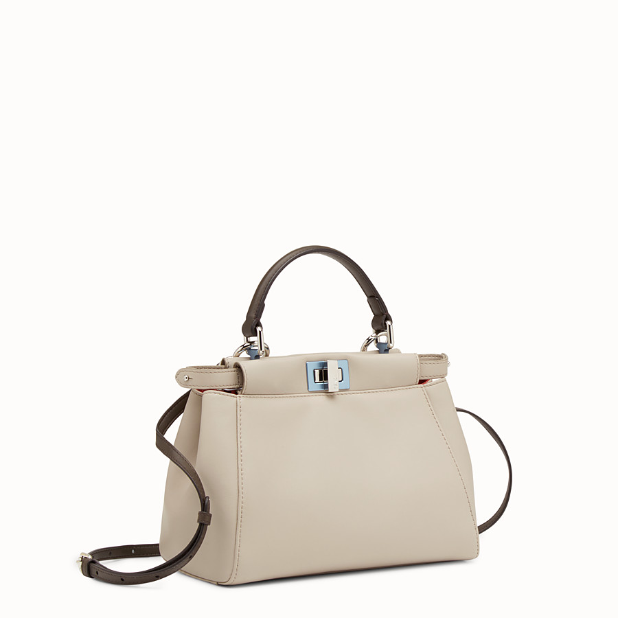 FENDI PEEKABOO MINI - Powder-gray nappa handbag - view 2 detail