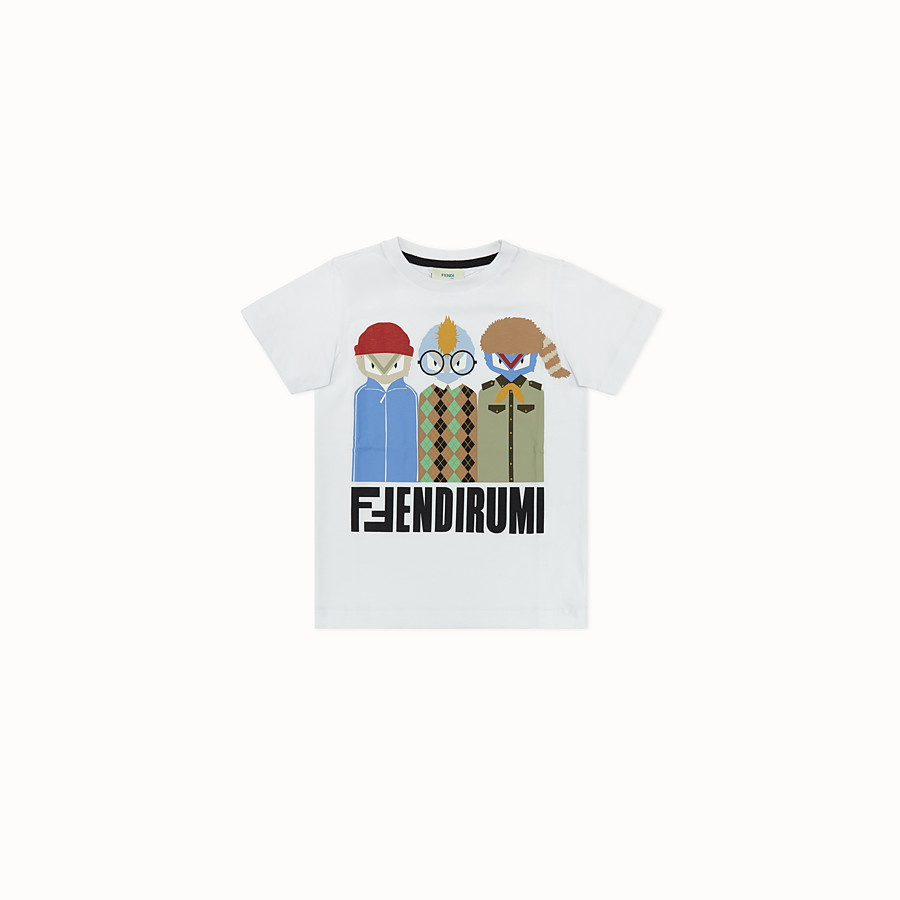 FENDI FENDIRUMI T-SHIRT - White jersey T-shirt - view 1 detail