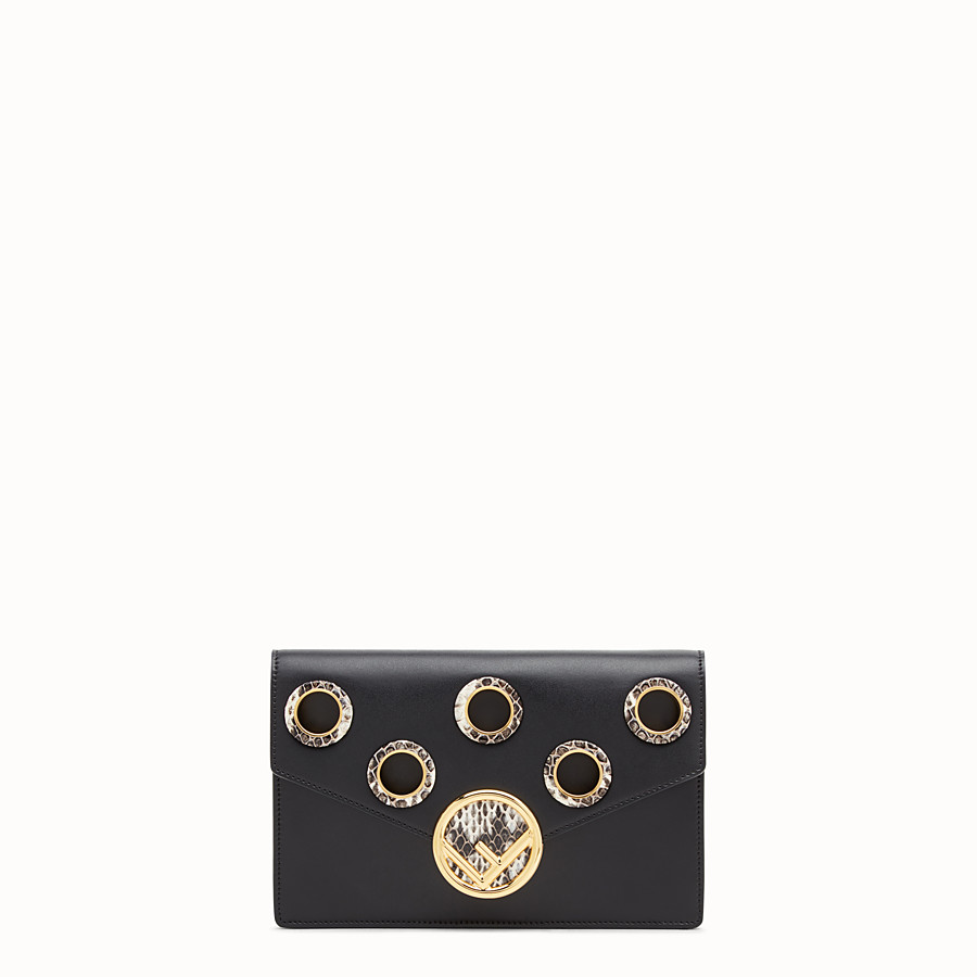 FENDI WALLET ON CHAIN - Balck leather mini-bag with exotics details - view 1 detail