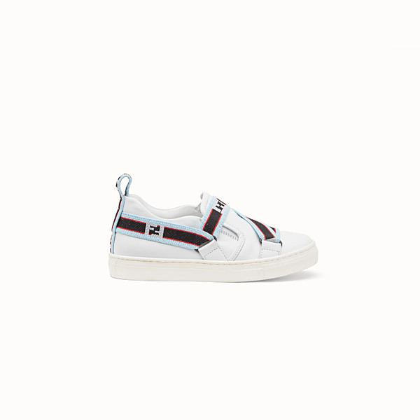 FENDI BOY SLIP-ON - White leather sneakers with multicolour ribbon - view 1 small thumbnail