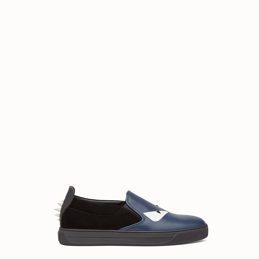 FENDI SNEAKER - Slip-ons in blue leather and black suede - view 1 detail