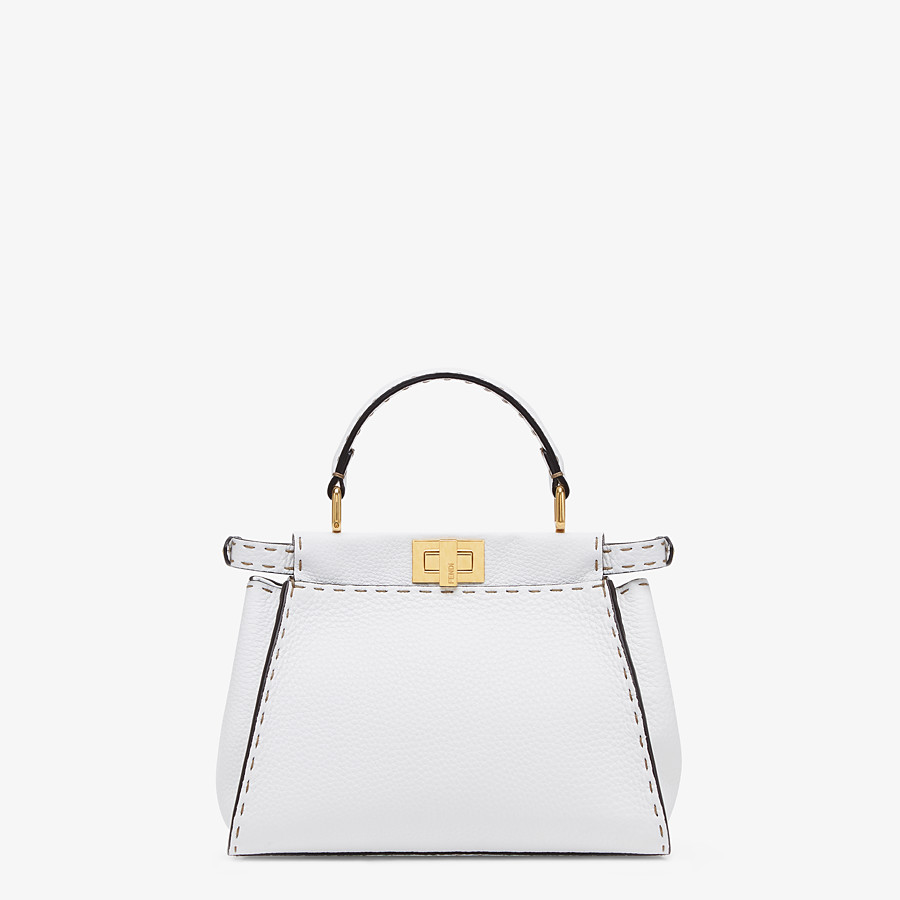FENDI PEEKABOO ICONIC MINI - White Cuoio Romano leather bag - view 4 detail