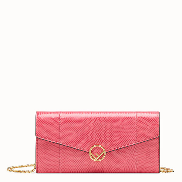 FENDI CONTINENTAL WITH CHAIN - Pink karung wallet - view 1 small thumbnail