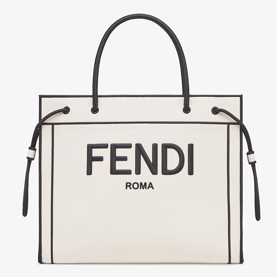 FENDI LARGE FENDI ROMA SHOPPER - Undyed canvas shopper bag - view 1 detail