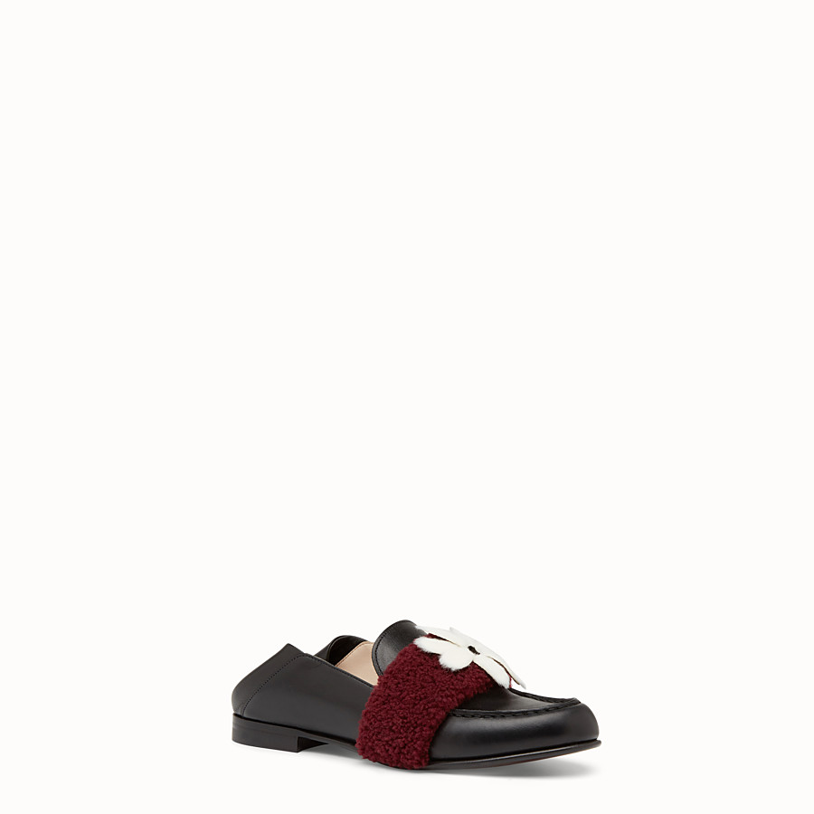 FENDI LOAFERS - Black leather and shearling sabots - view 2 detail