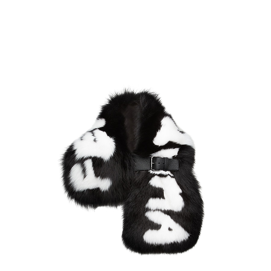FENDI FENDI ROMA COLLAR - in black fur with white inlay - view 1 detail