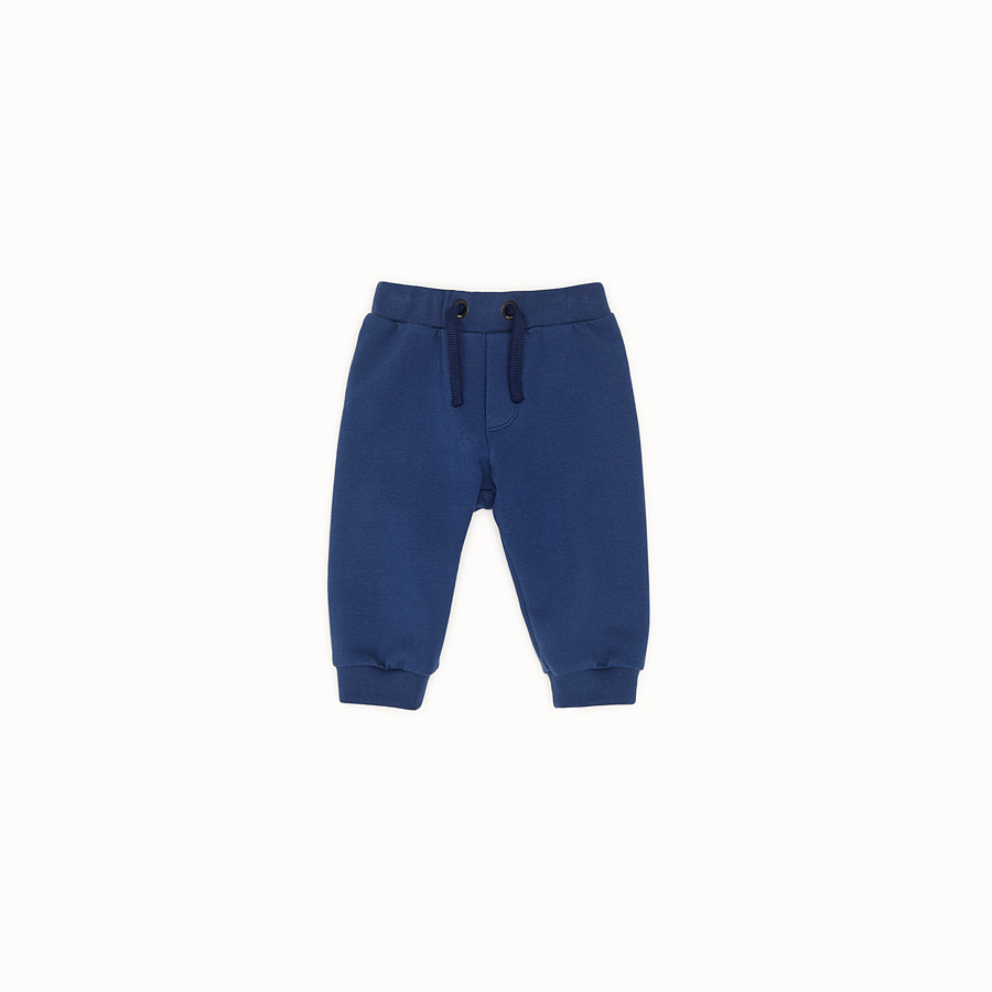 FENDI TROUSERS - Blue sweatshirt-fleece trousers - view 1 detail