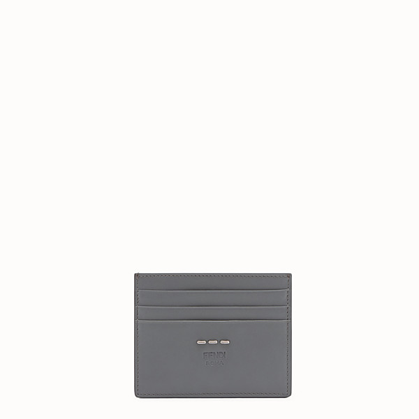 FENDI CARD HOLDER - Six-slot card holder in grey leather - view 1 small thumbnail