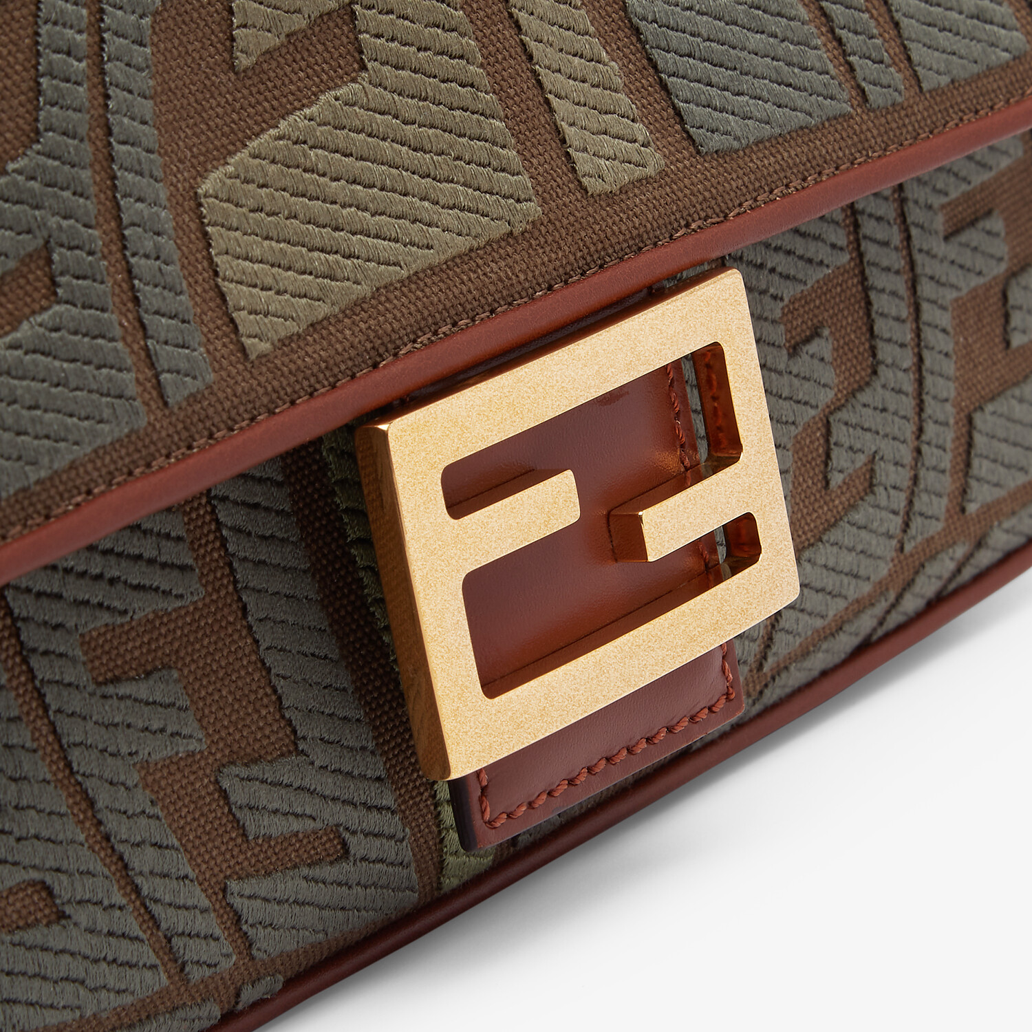 FENDI BAGUETTE - Embroidered green canvas bag - view 6 detail