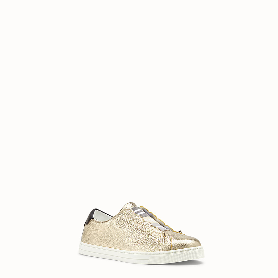 FENDI SNEAKERS - Golden leather sneakers - view 2 detail