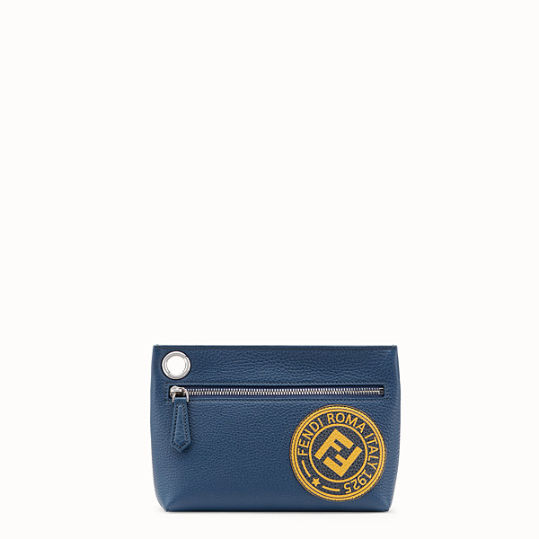 FENDI MEDIUM PYRAMID POUCH - Blue leather pouch - view 1 small thumbnail