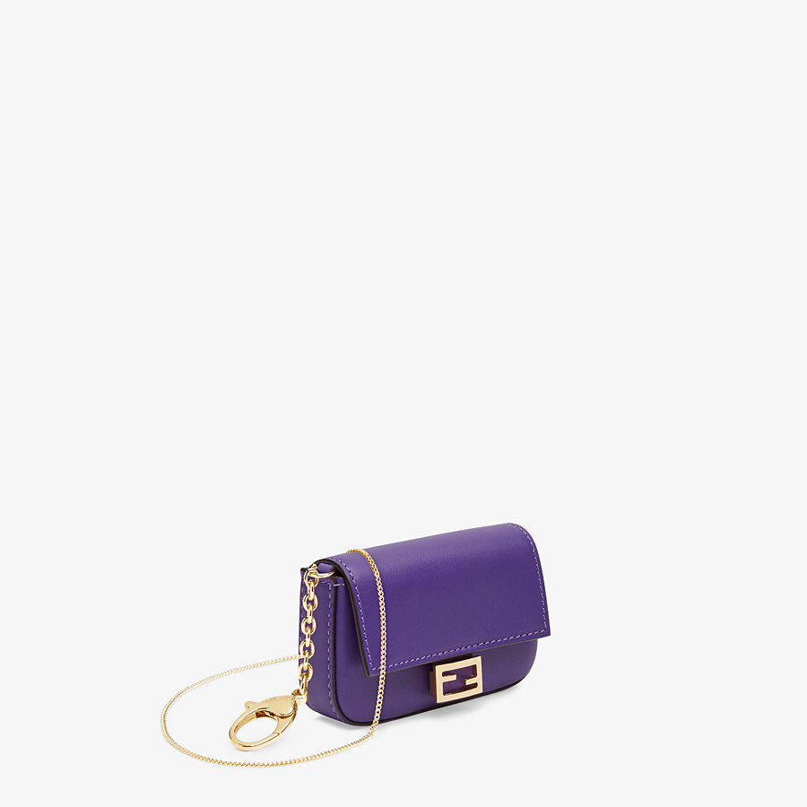 FENDI NANO BAGUETTE CHARM - Purple leather charm - view 2 detail