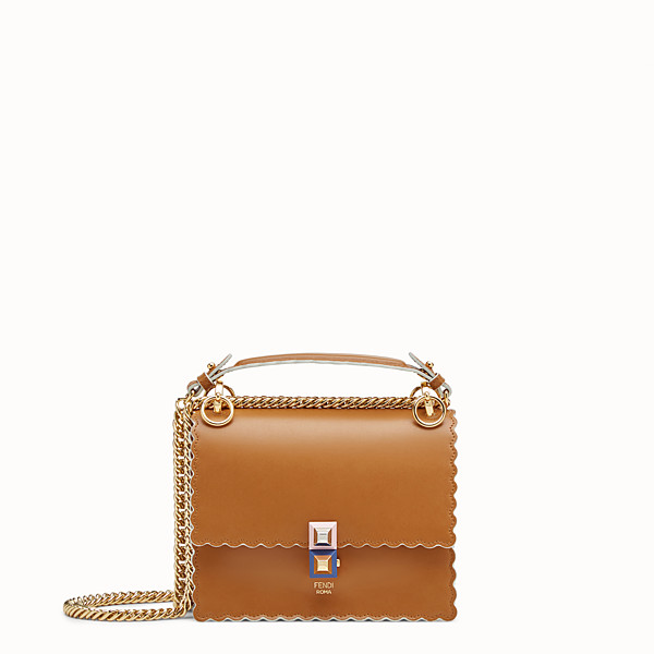 FENDI KAN I SMALL - Mini-sac en cuir marron - view 1 small thumbnail