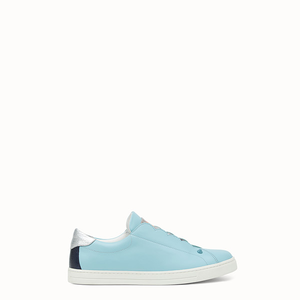 FENDI SNEAKERS - Turquoise stretch leather slip-ons - view 1 small thumbnail
