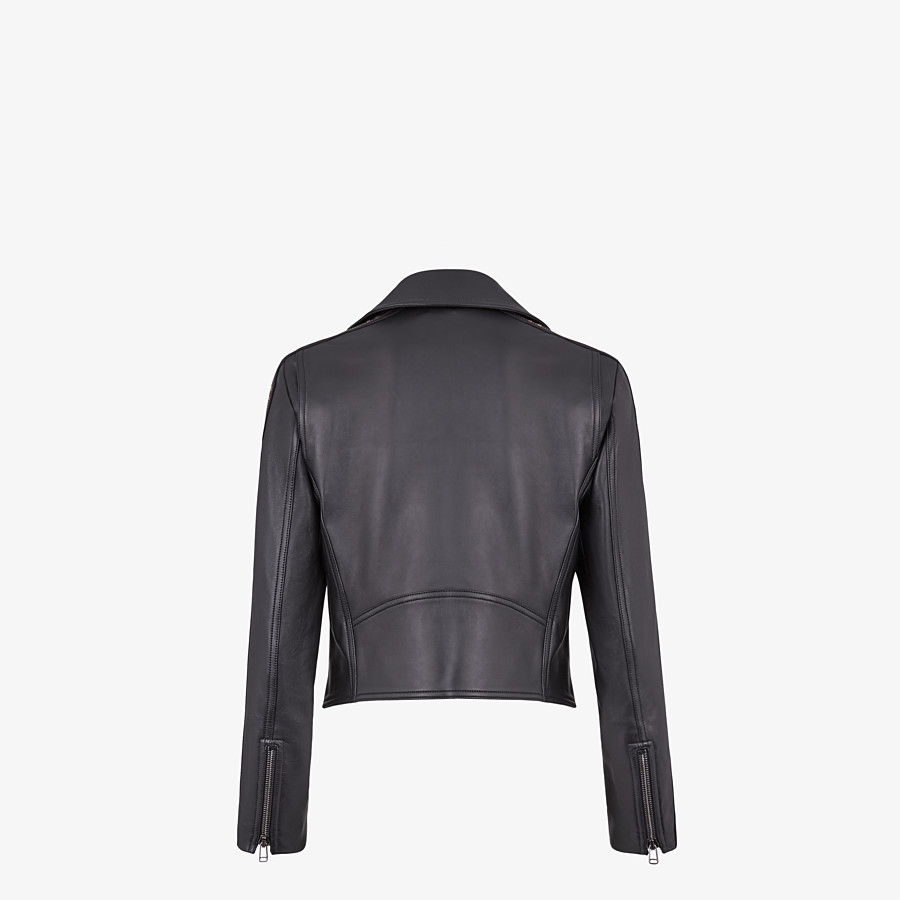 FENDI JACKET - Black leather jacket - view 2 detail