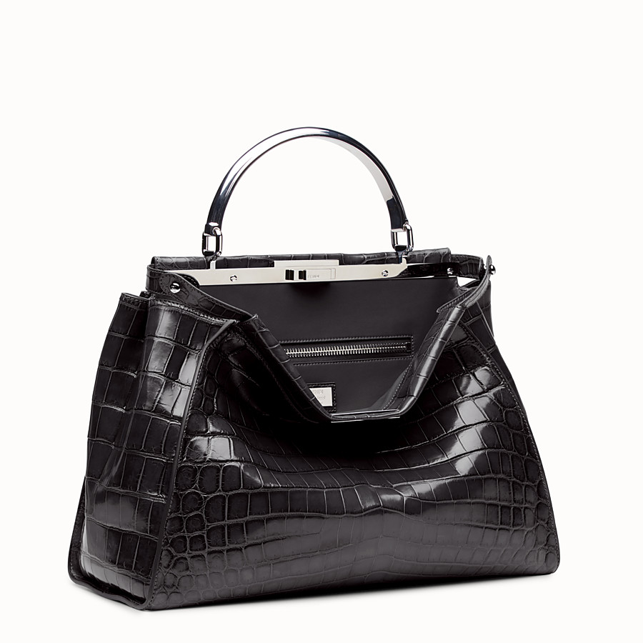 FENDI PEEKABOO LARGE - Black crocodile leather handbag. - view 2 detail