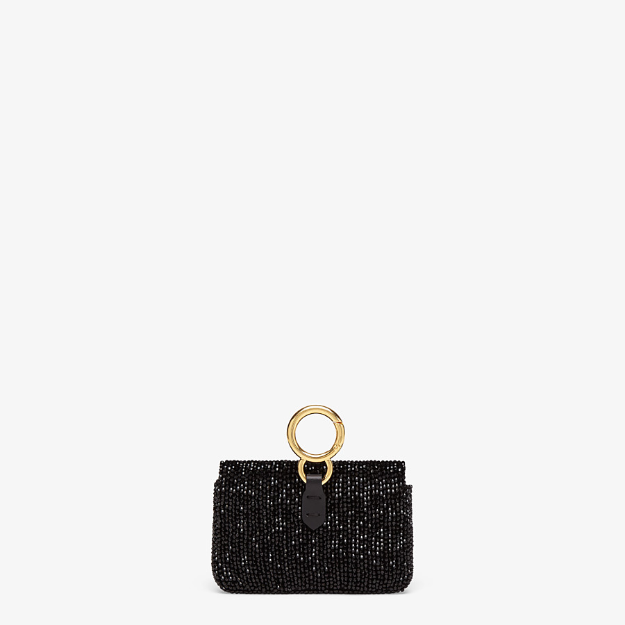 FENDI NANO BAGUETTE CHARM - Charm with black crystals - view 3 detail