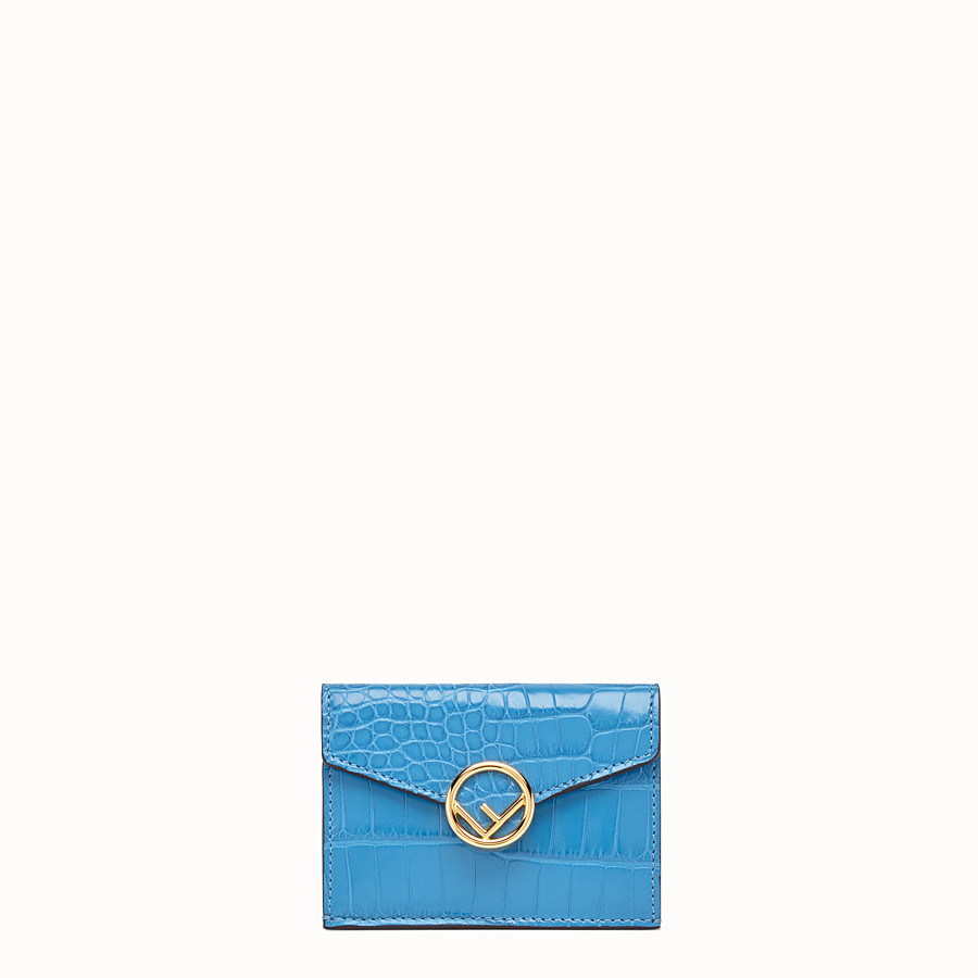 FENDI MICRO TRIFOLD - Pale blue alligator wallet - view 1 detail