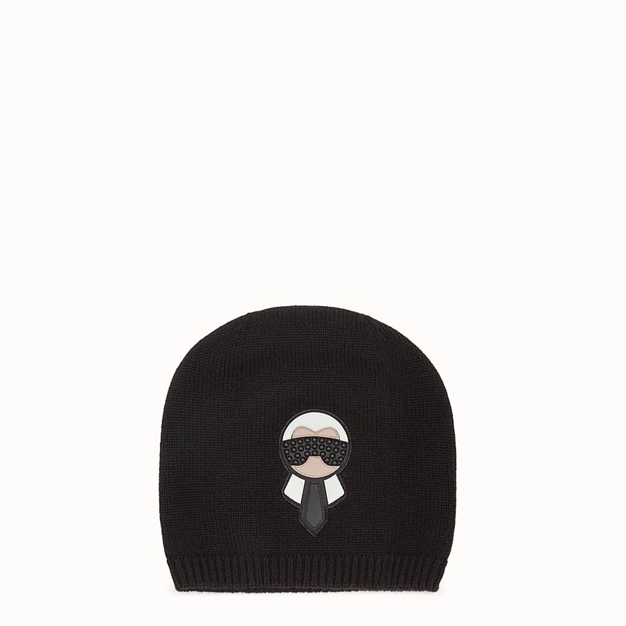 FENDI HAT - Karlito hat in black cashmere - view 1 detail