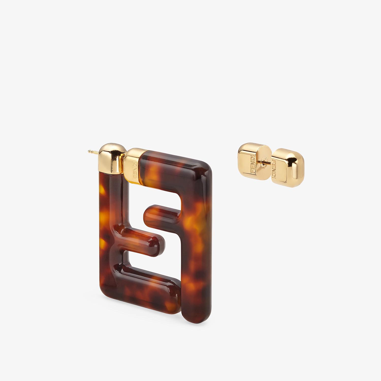 FENDI MEDIUM FF EARRINGS - Brown plexi earrings - view 2 detail
