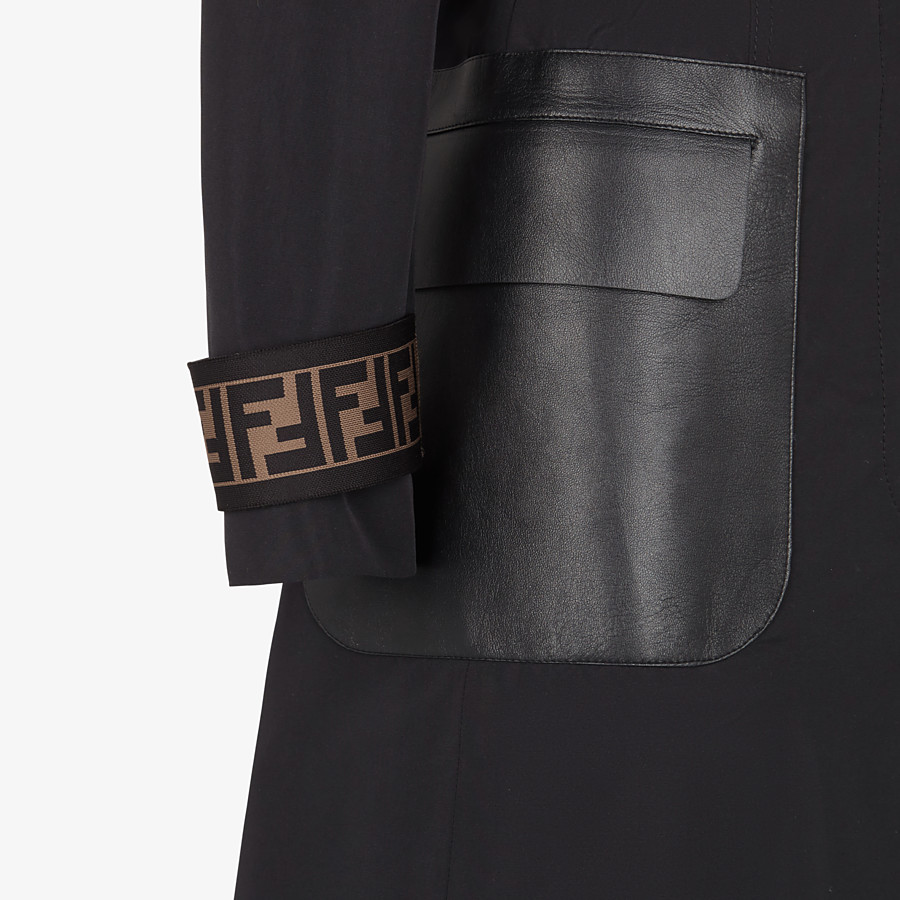 FENDI OVERCOAT - Black faille trench coat - view 3 detail