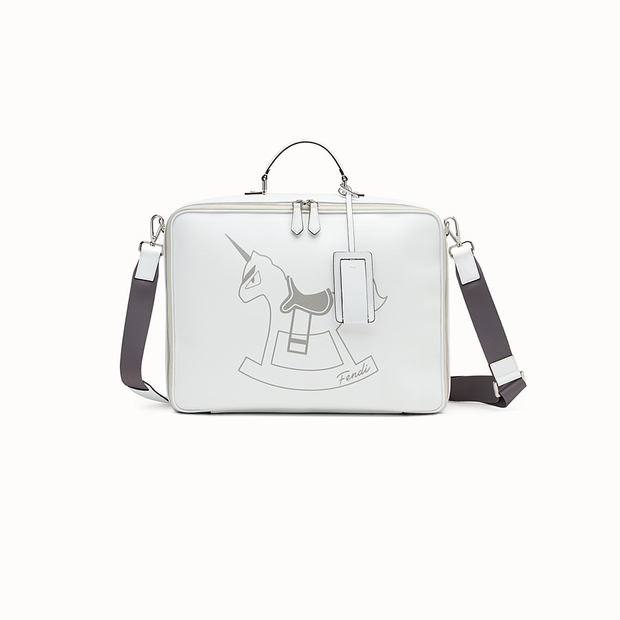 FENDI BABY SUITCASE - White and grey canvas suitcase - view 1 detail