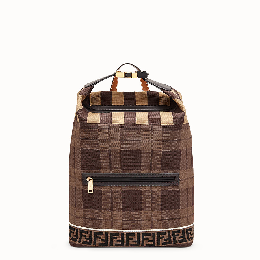FENDI BACKPACK - Tartan tech knit backpack - view 1 detail