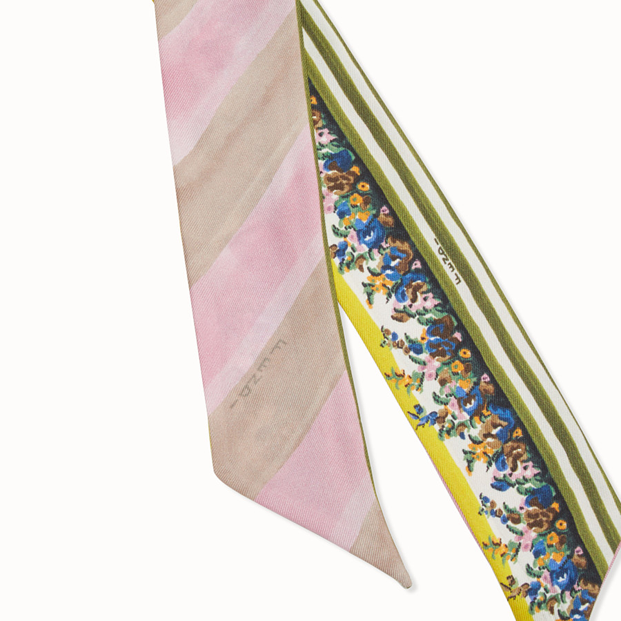 FENDI BLOOMING GARDENS WRAPPY - 粉紅色和綠色真絲髮箍 - view 2 detail