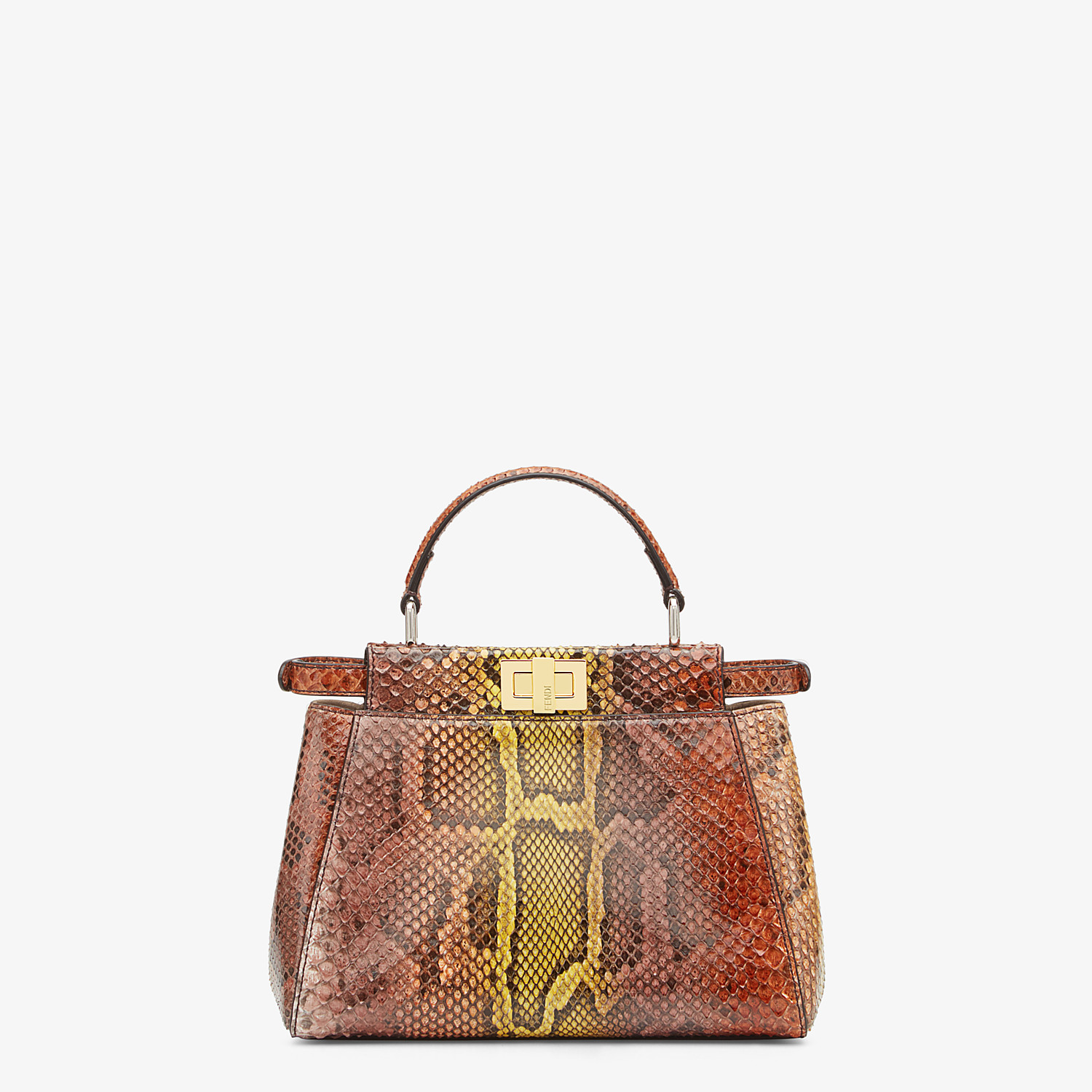 FENDI PEEKABOO ICONIC MINI - Borsa in pitone marrone - vista 3 dettaglio