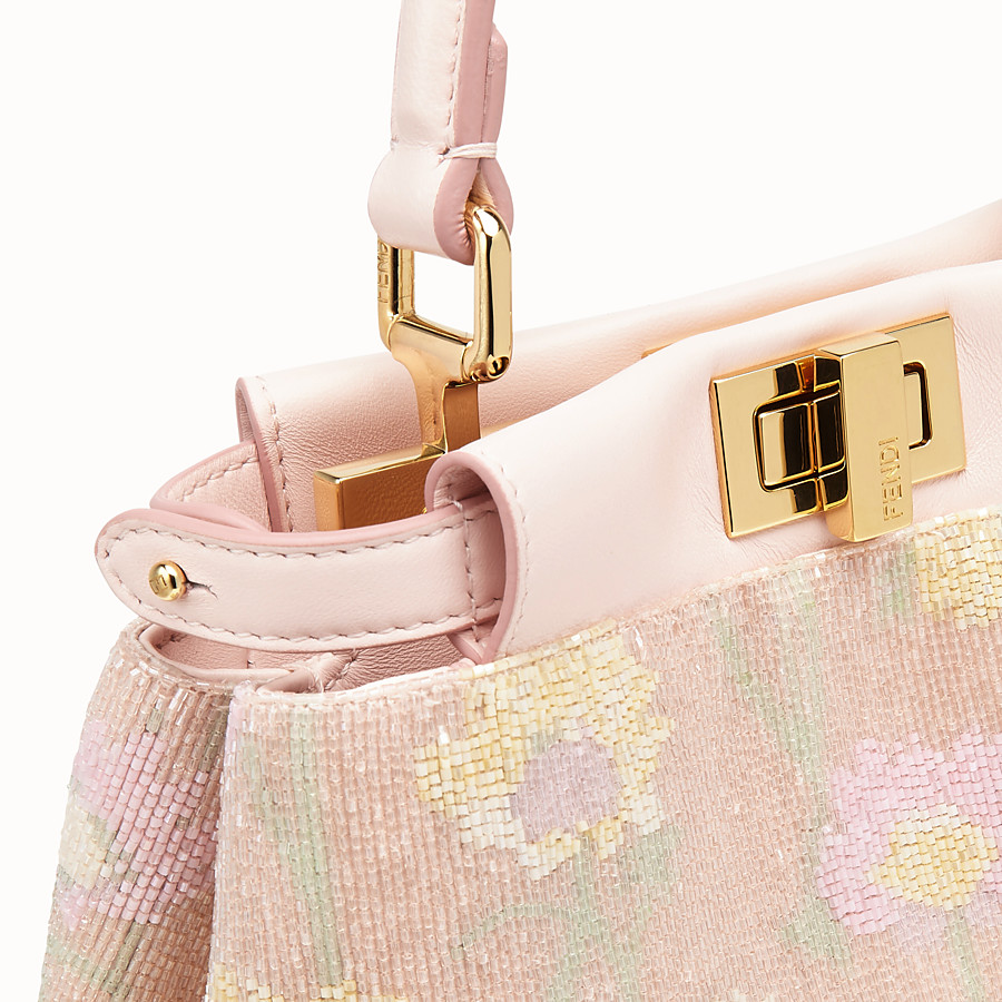FENDI PEEKABOO ICONIC XS - Mini-bag with pink embroidery decoration - view 6 detail