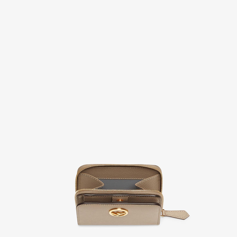 FENDI MEDIUM ZIP-AROUND - Beige leather wallet - view 3 detail