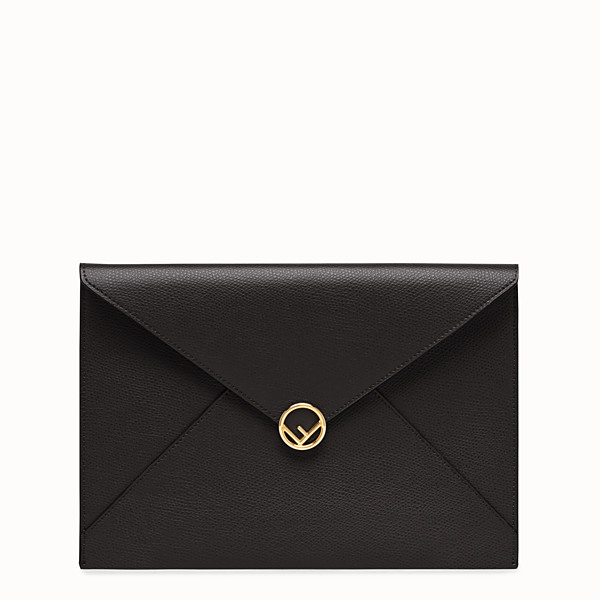 FENDI FLAT POUCH - Black leather pouch - view 1 small thumbnail